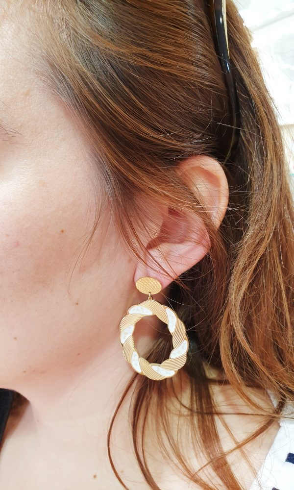 Boucles d'oreilles Cyclades Blanc omacoo