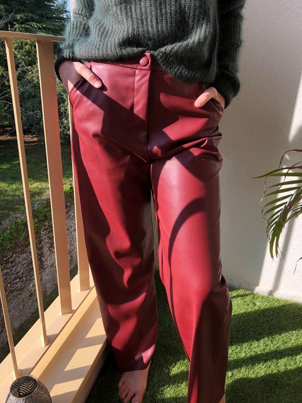 Pantalon Kendall Simili Cuir Bordeaux JANE WOOD 2