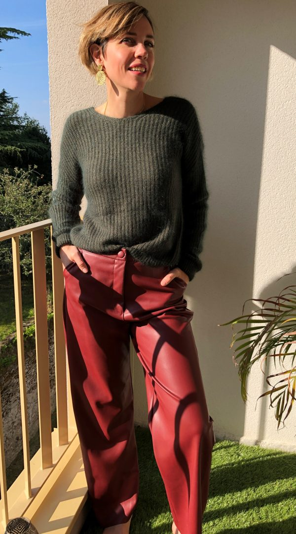Pantalon Kendall Simili Cuir Bordeaux JANE WOOD